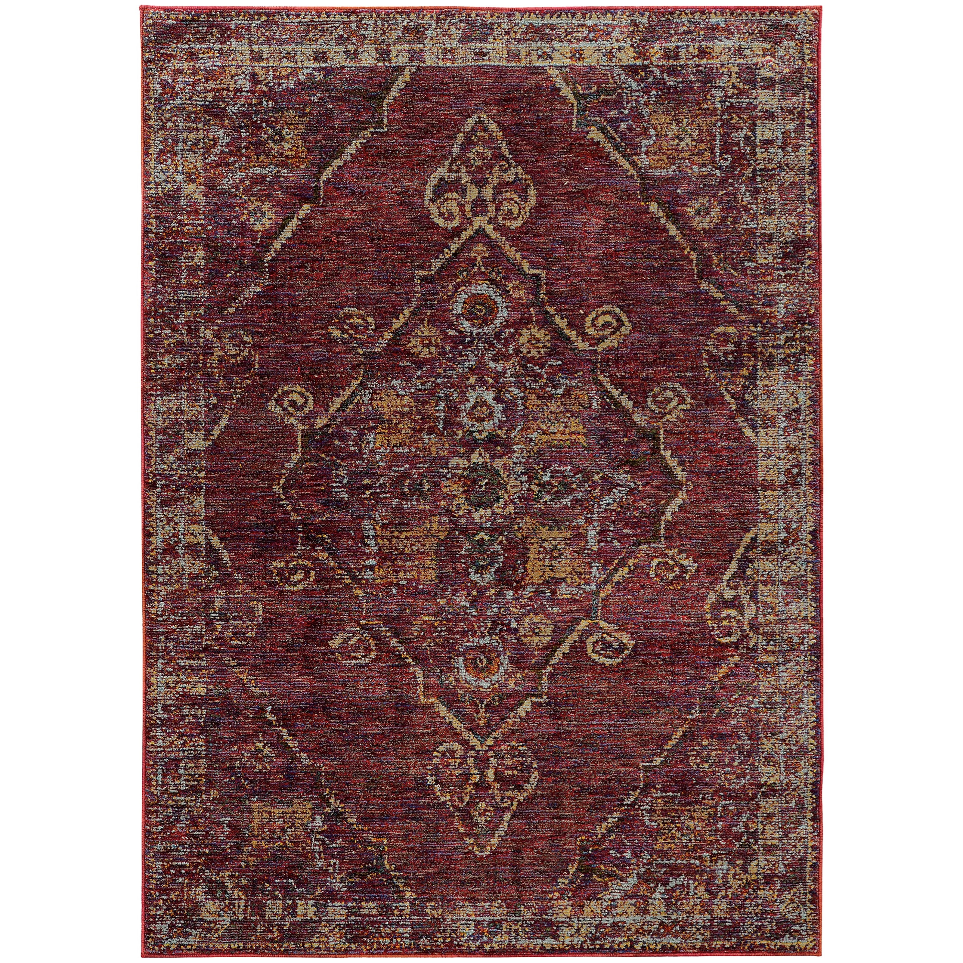 "Andorra 3' 3"" X  5' 2"" Casual Red/ Gold Rectangle Ru by Oriental Weavers at Steger's Furniture"