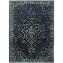 """Oriental Weavers Andorra 3' 3"""" X  5' 2"""" Casual Blue/ Blue Rectangle R - Item Number: AND7135F33X52"""