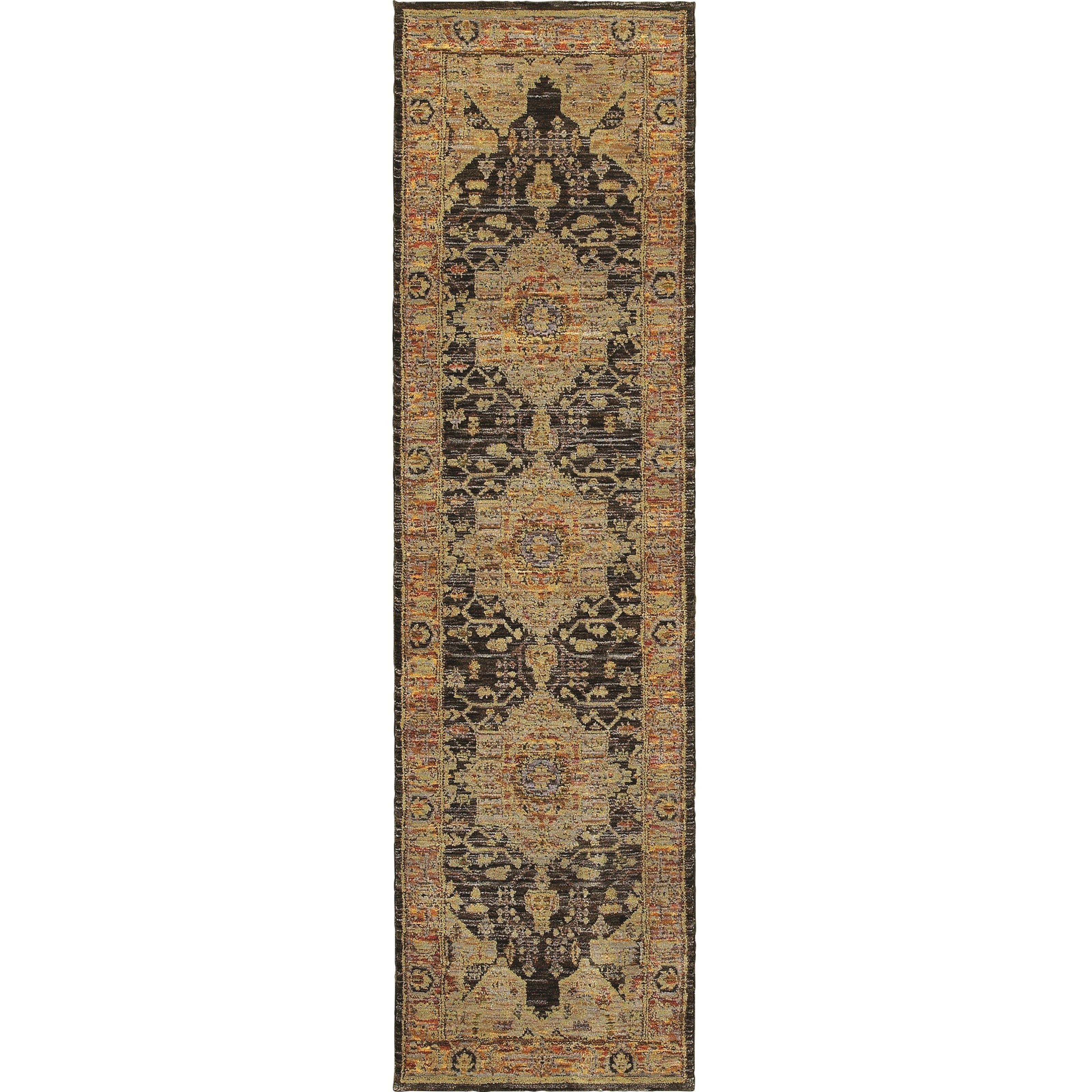 """Andorra 2' 3"""" X  8' 0"""" Traditional Gold/ Grey Runner by Oriental Weavers at Steger's Furniture"""