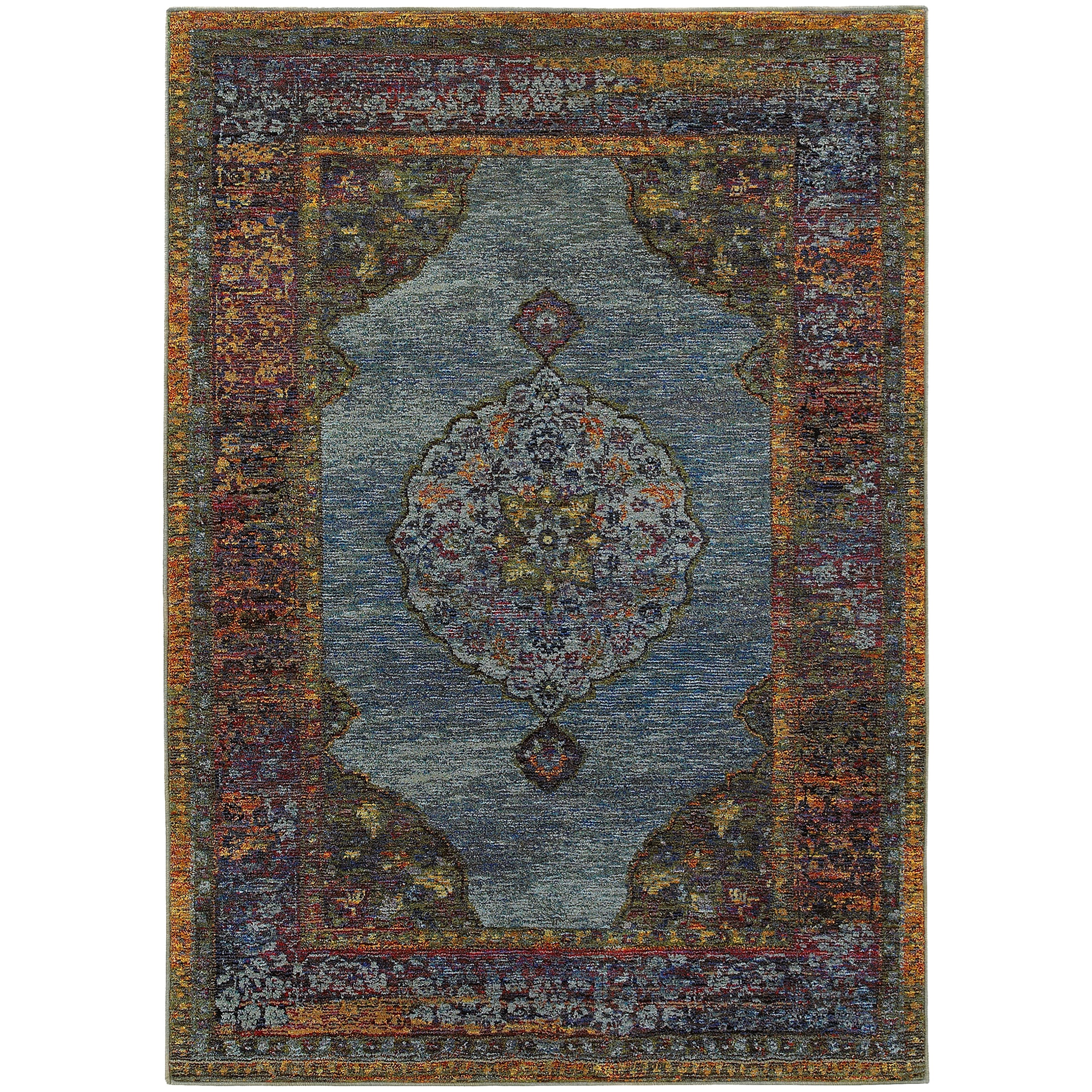 "1'10"" X  3' 2"" Traditional Blue/ Multi Recta"