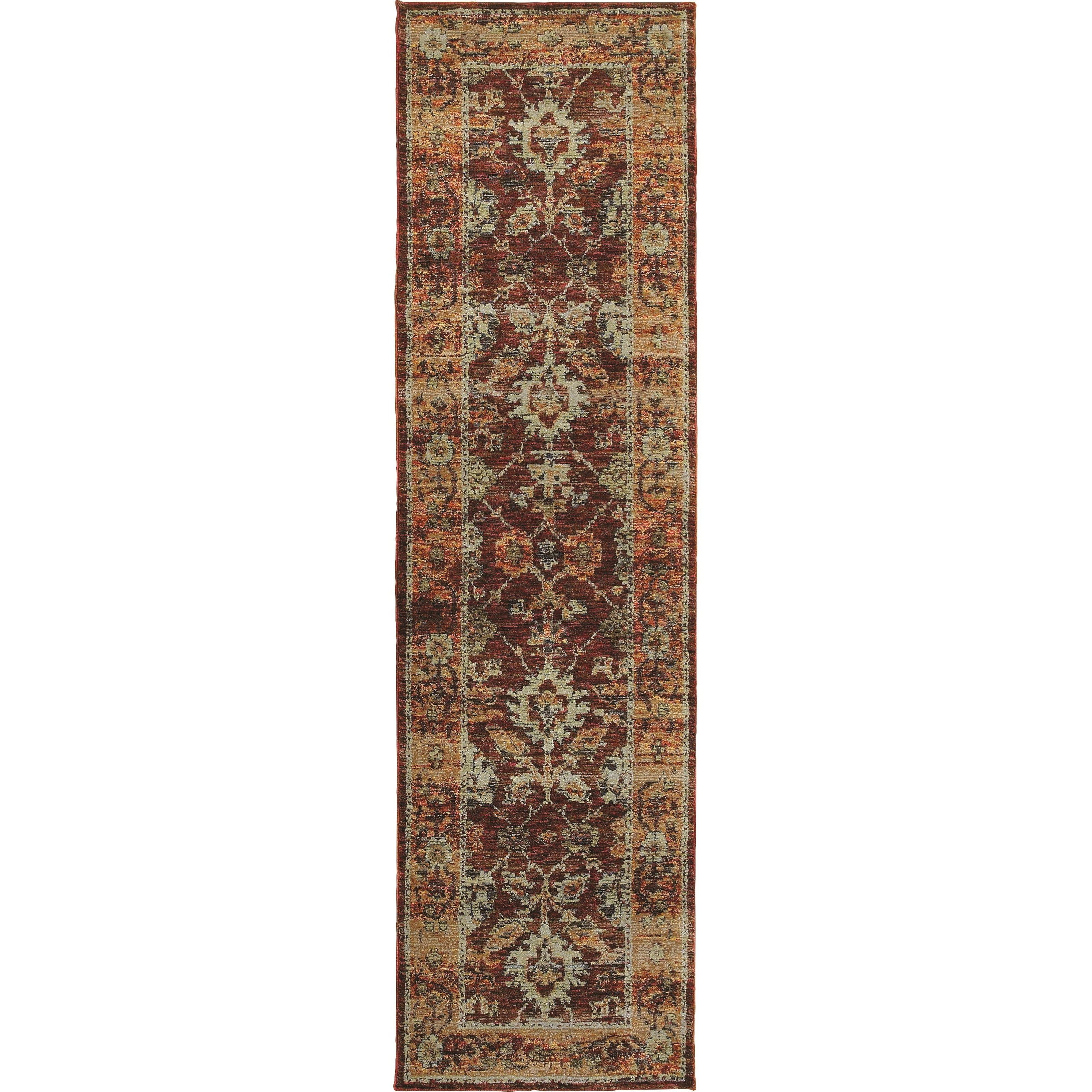 "2' 3"" X  8' 0"" Casual Red/ Gold Runner Rug"