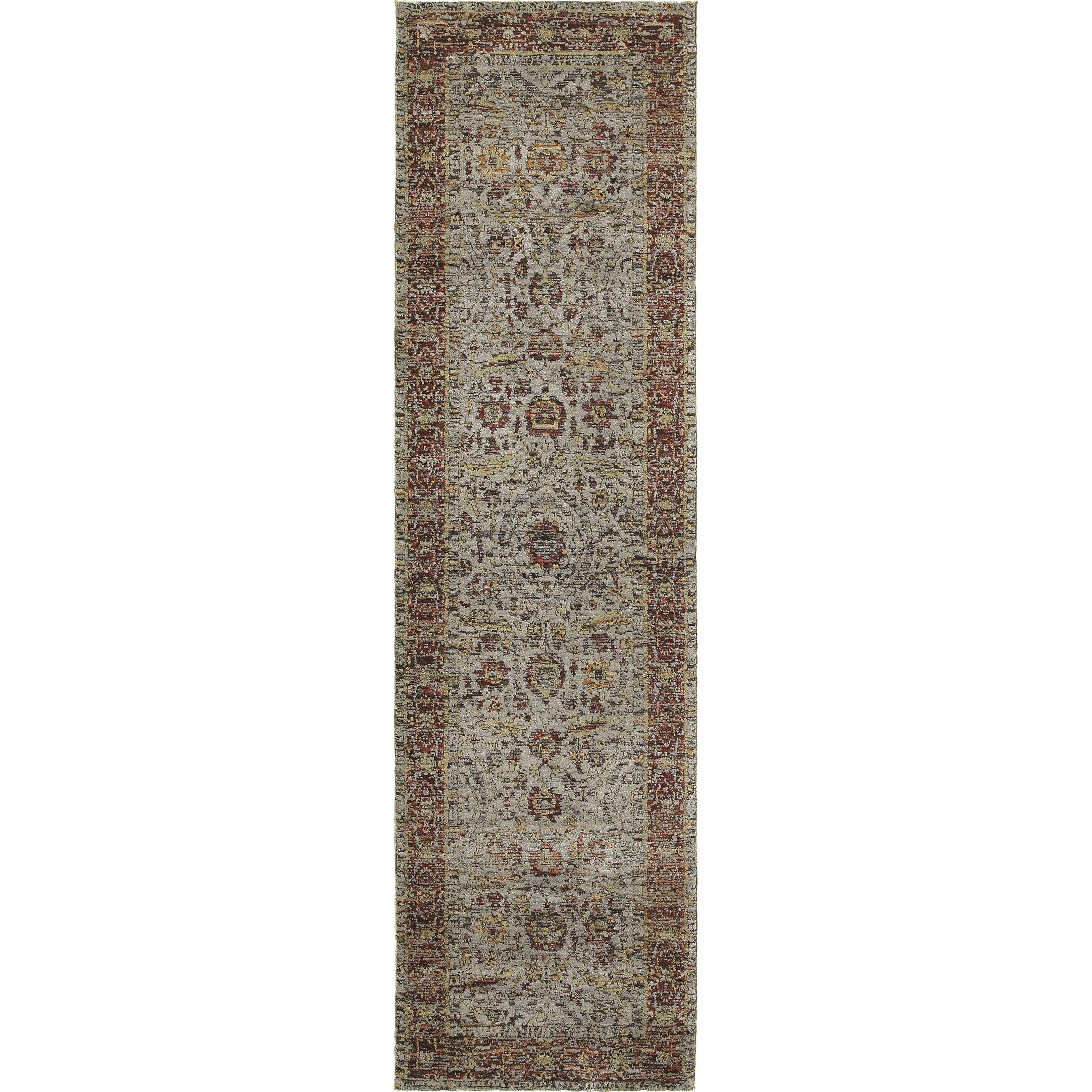 """2' 3"""" X  8' 0"""" Casual Blue/ Red Runner Rug"""