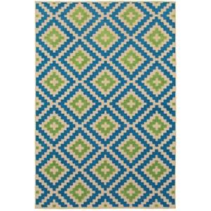 "Oriental Weavers Cayman 9'10"" X 12'10"" Outdoor Sand/ Blue Rectangle"