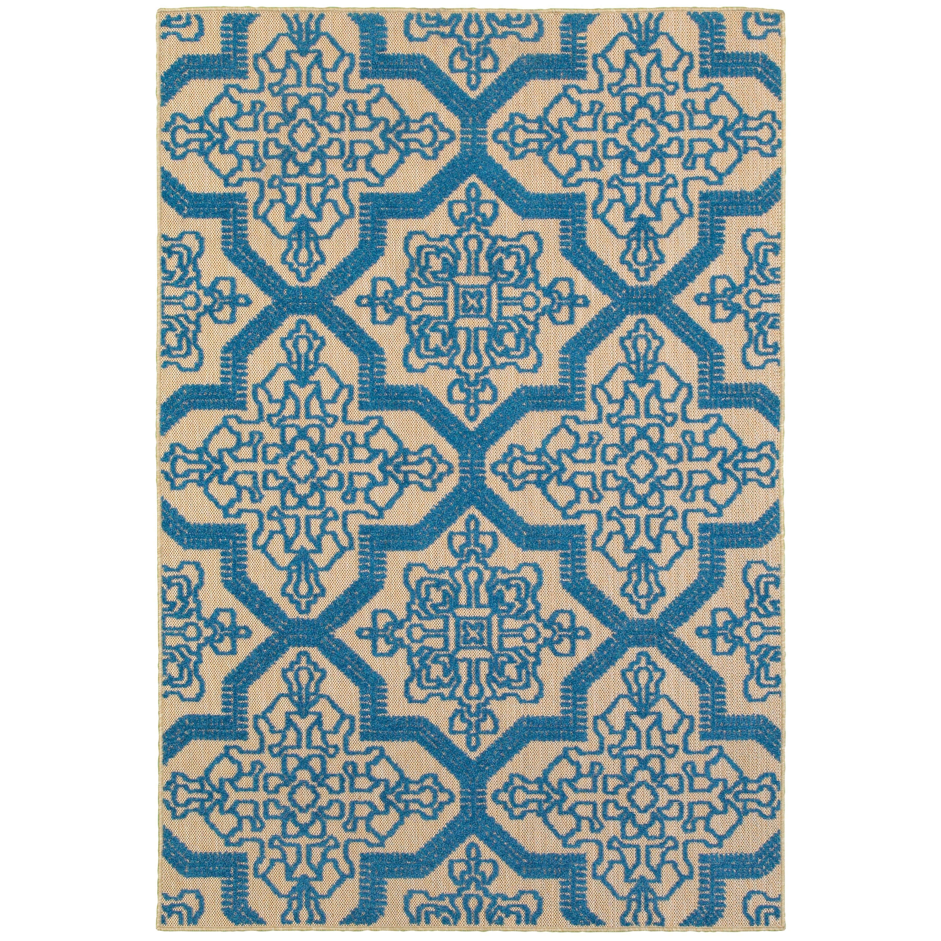 """1'10"""" X  3' 3"""" Outdoor Sand/ Blue Rectangle"""
