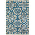 """Oriental Weavers Cayman 2' 3"""" X  7' 6"""" Outdoor Sand/ Blue Runner Rug - Item Number: CAY2541M23X76"""