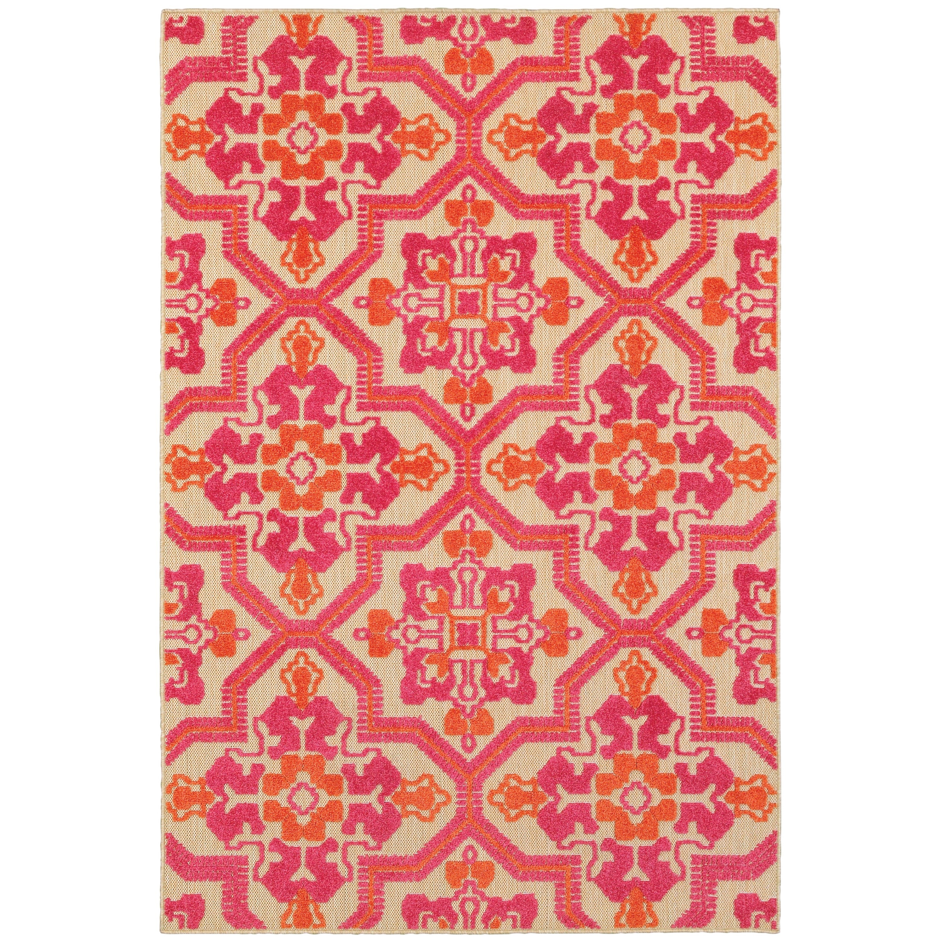 """5' 3"""" X  7' 6"""" Outdoor Sand/ Pink Rectangle"""