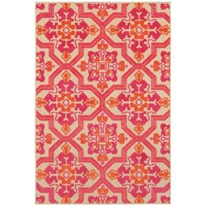 "Oriental Weavers Cayman 9'10"" X 12'10"" Outdoor Sand/ Pink Rectangle"