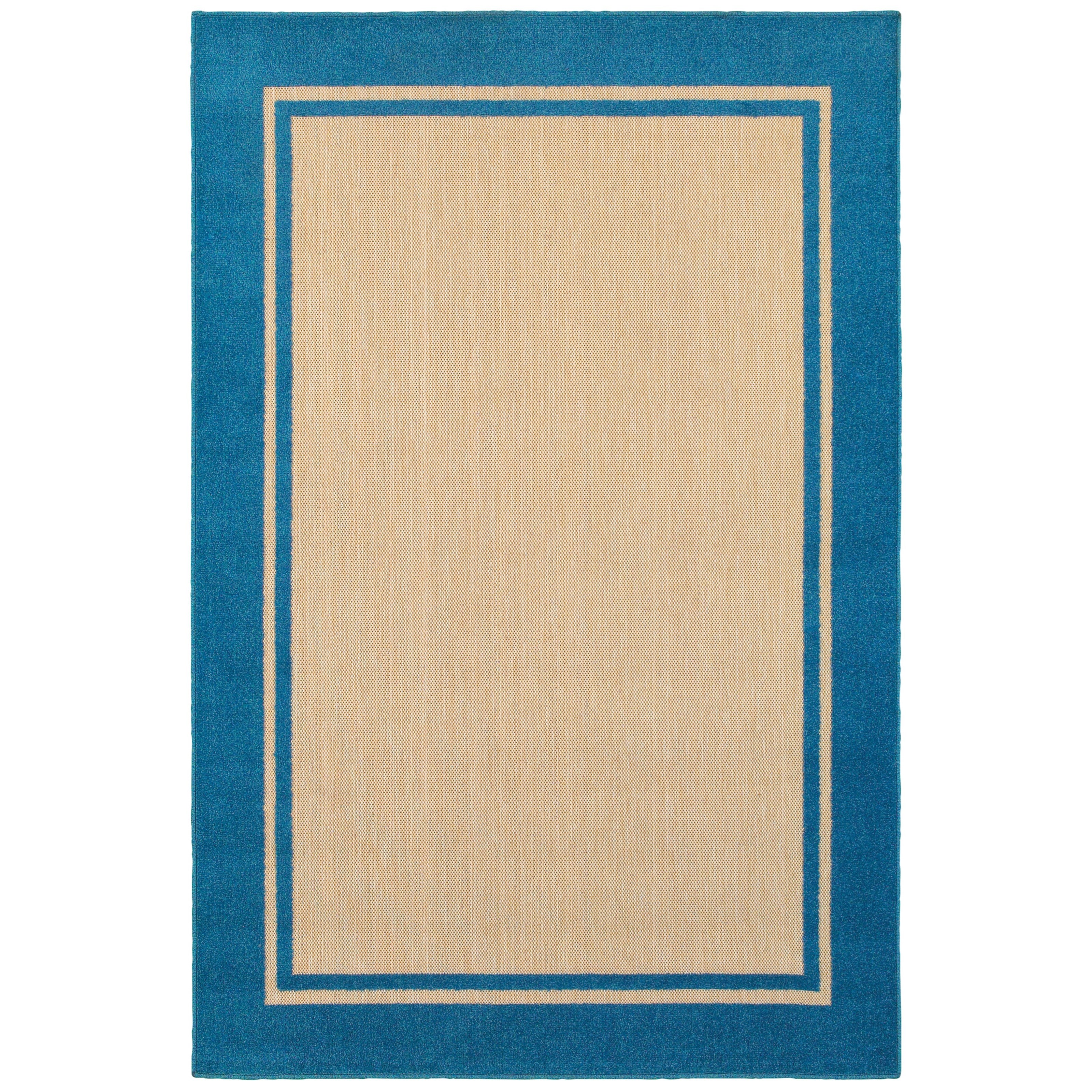 """6' 7"""" X  9' 6"""" Outdoor Sand/ Blue Rectangle"""