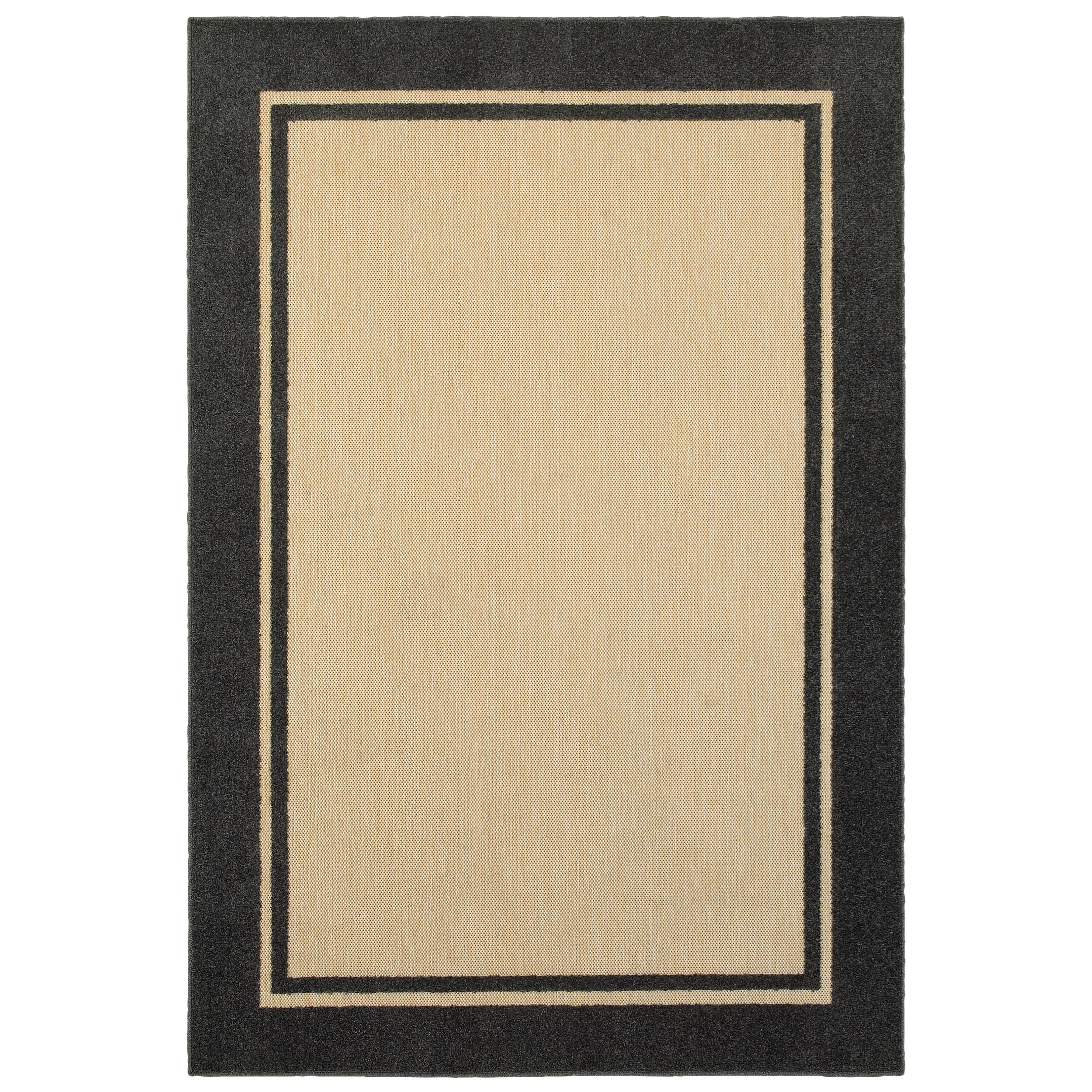 """3'10"""" X  5' 5"""" Outdoor Sand/ Charcoal Rectan"""