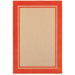 "Oriental Weavers Cayman 6' 7"" X  9' 6"" Outdoor Sand/ Orange Rectangl"