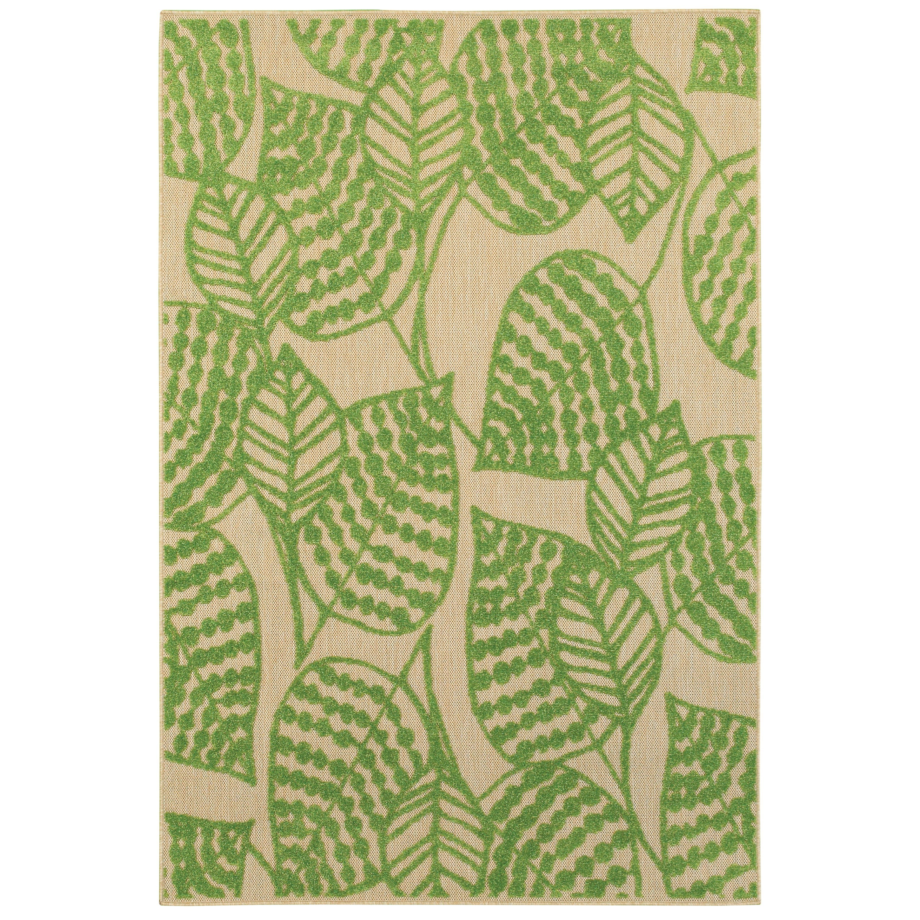 """6' 7"""" X  9' 6"""" Outdoor Sand/ Green Rectangle"""