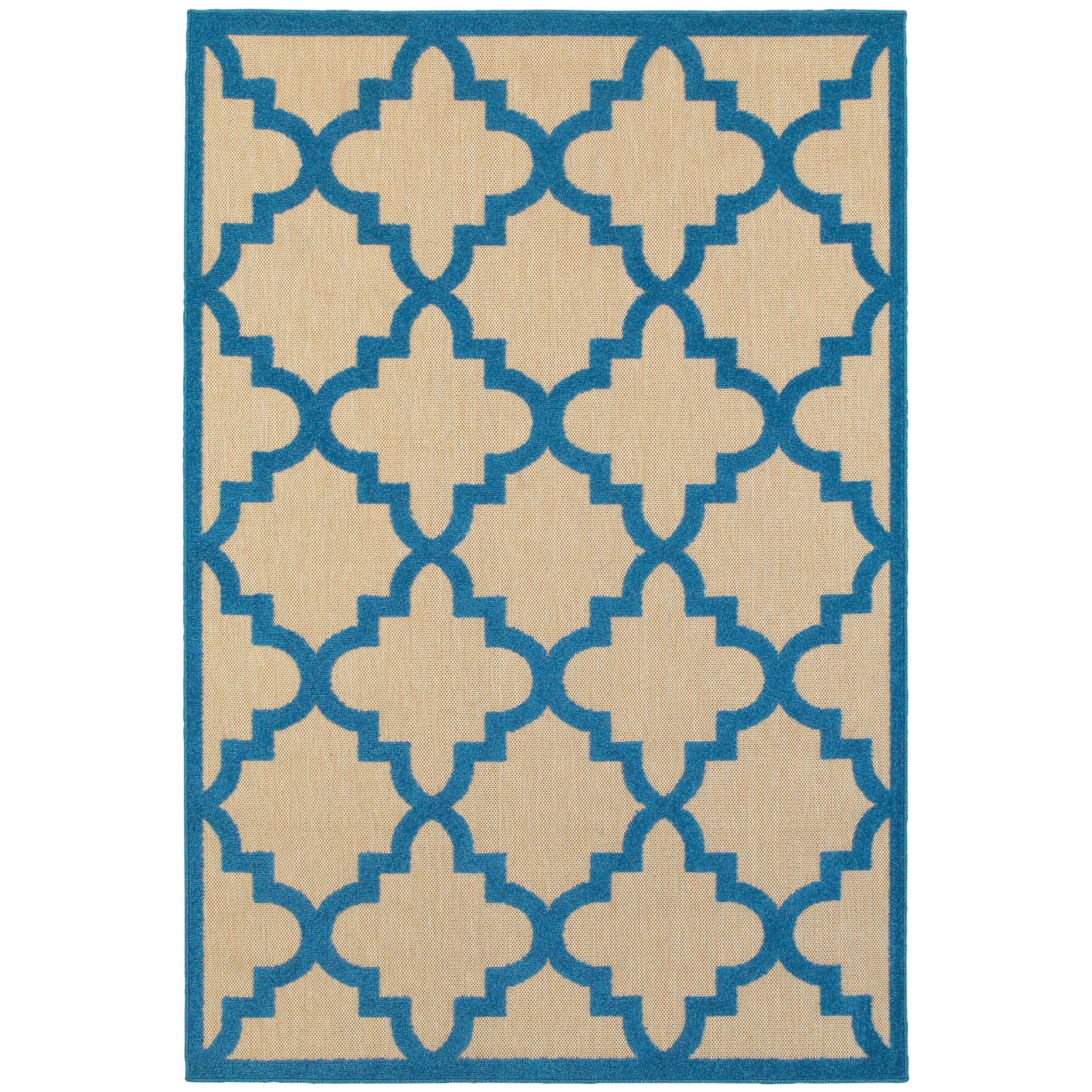 """5' 3"""" X  7' 6"""" Outdoor Sand/ Blue Rectangle"""
