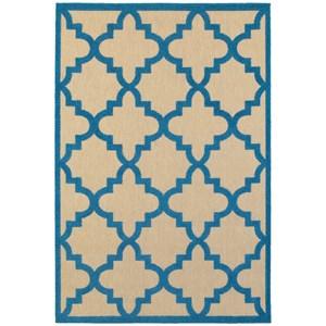"Oriental Weavers Cayman 5' 3"" X  7' 6"" Outdoor Sand/ Blue Rectangle"