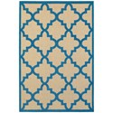 "Oriental Weavers Cayman 6' 7"" X  9' 6"" Outdoor Sand/ Blue Rectangle  - Item Number: CAY660L67X96"
