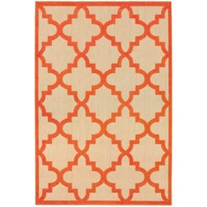 "Oriental Weavers Cayman 1'10"" X  3' 3"" Outdoor Sand/ Orange Rectangl"