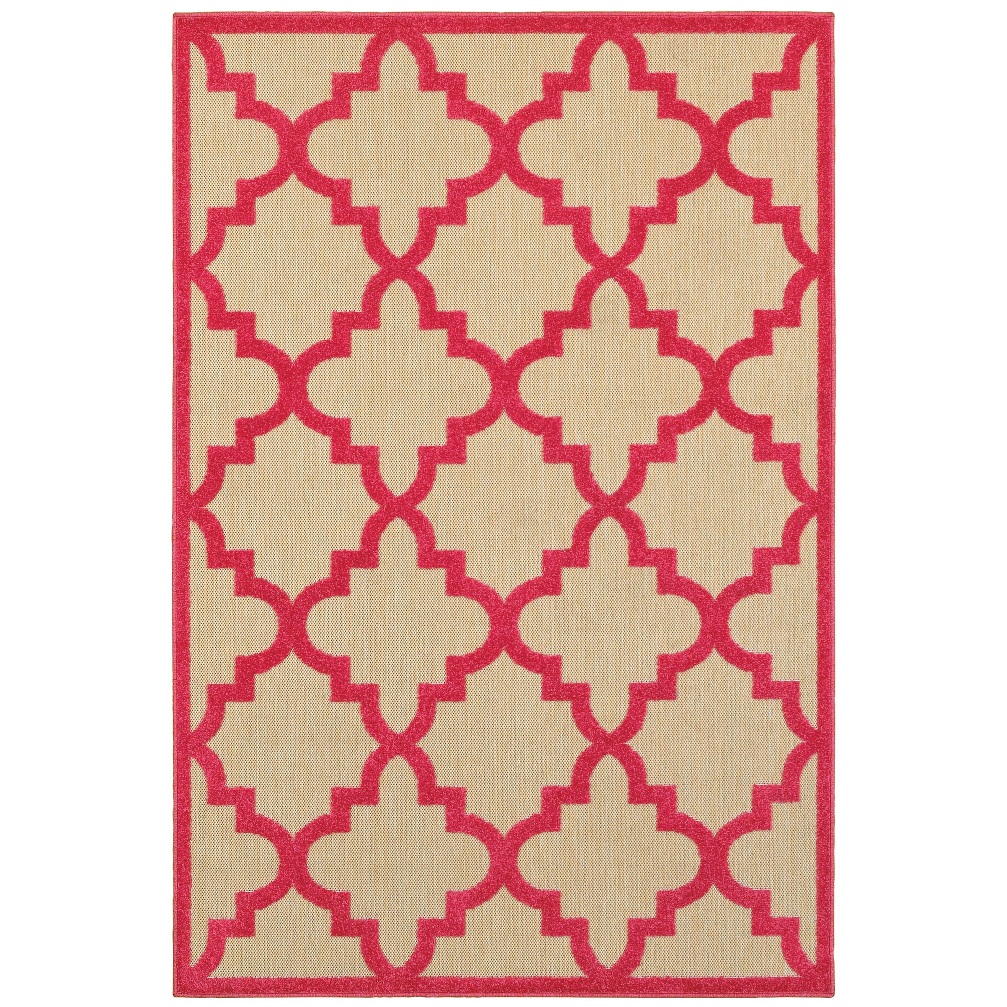 """9'10"""" X 12'10"""" Outdoor Sand/ Pink Rectangle"""