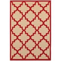 """Oriental Weavers Cayman 2' 3"""" X  7' 6"""" Outdoor Sand/ Red Runner Rug - Item Number: CAY660R23X76"""