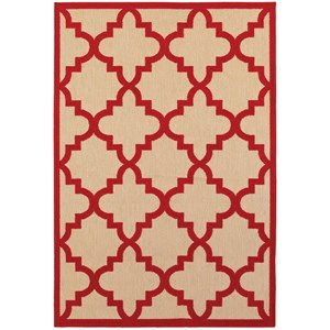 """Oriental Weavers Cayman 5' 3"""" X  7' 6"""" Outdoor Sand/ Red Rectangle R"""