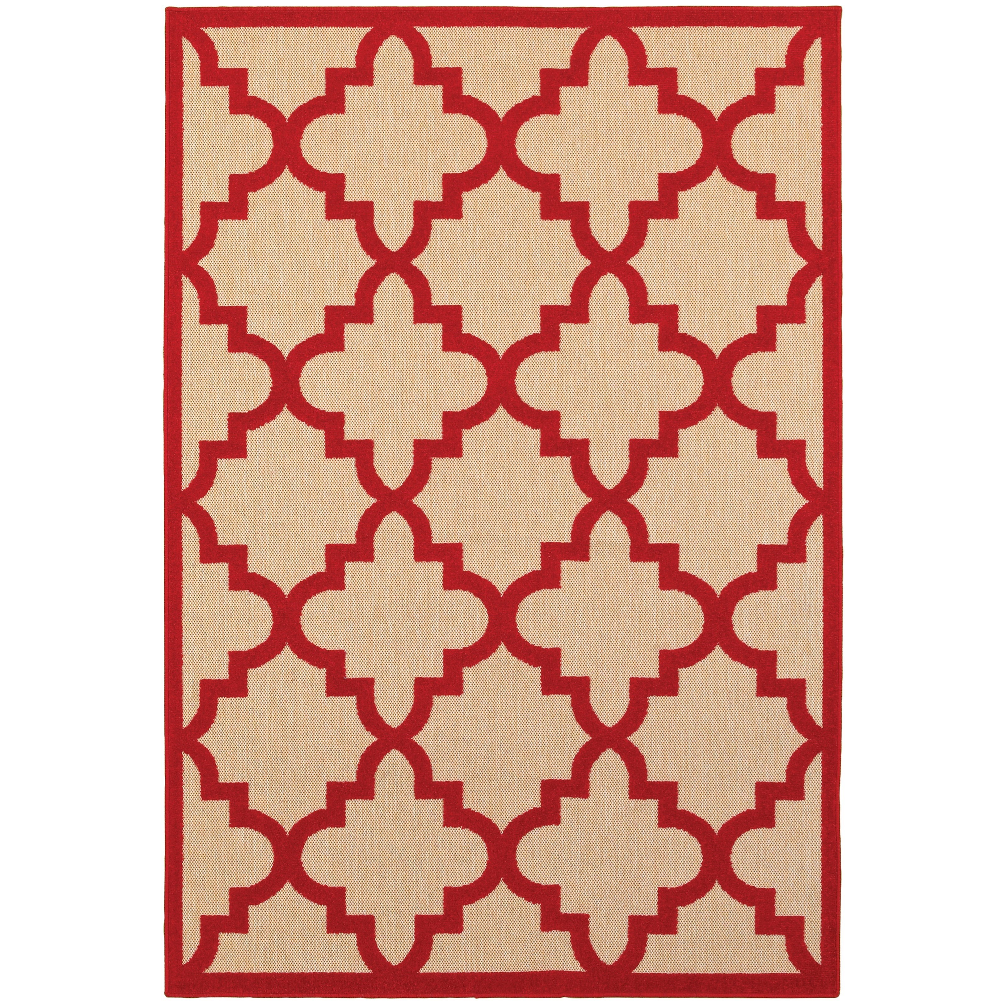 """7'10"""" X 10'10"""" Outdoor Sand/ Red Rectangle R"""