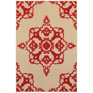"""Oriental Weavers Cayman 9'10"""" X 12'10"""" Outdoor Sand/ Red Rectangle R"""