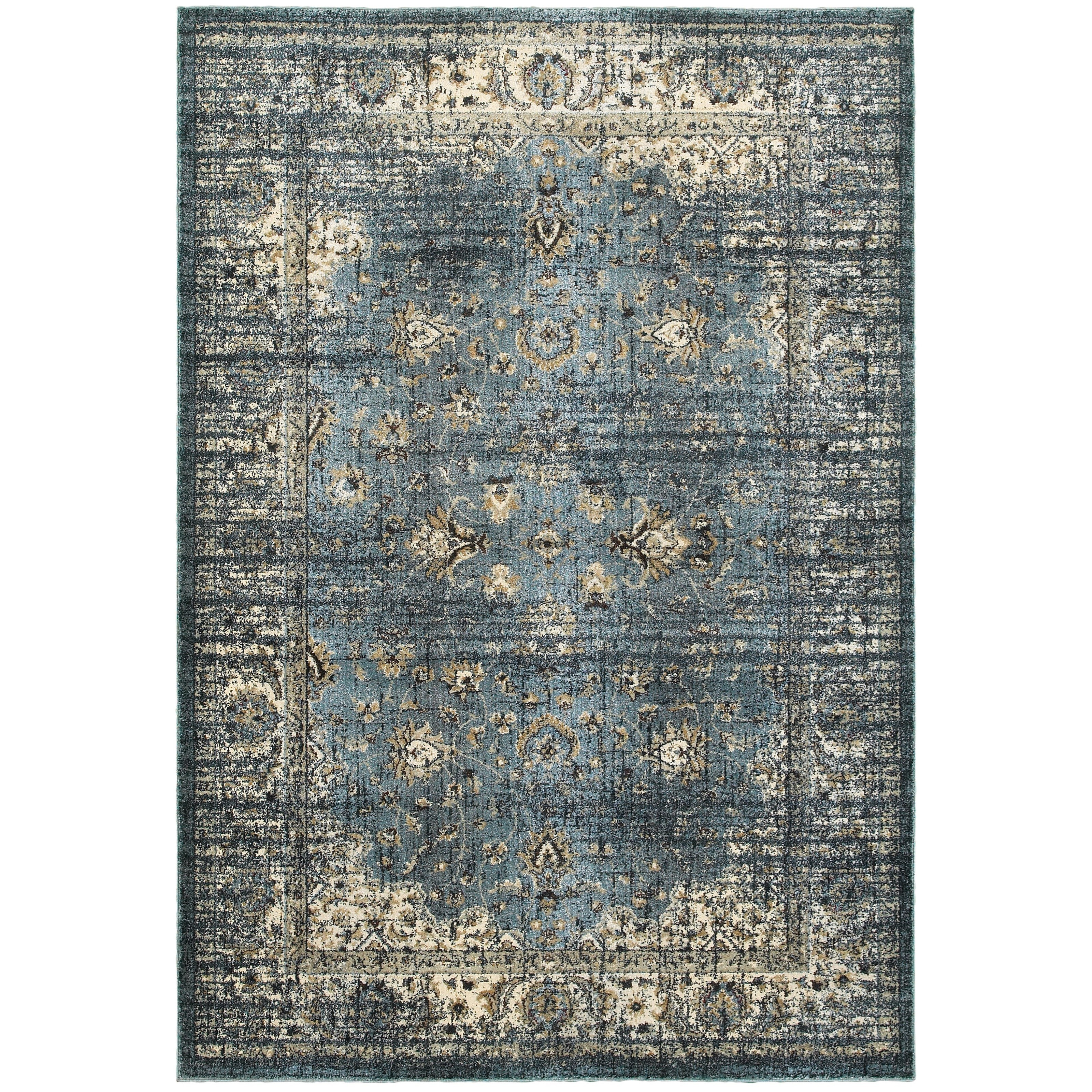 """7'10"""" X 10'10"""" Traditional Blue/ Ivory Recta"""