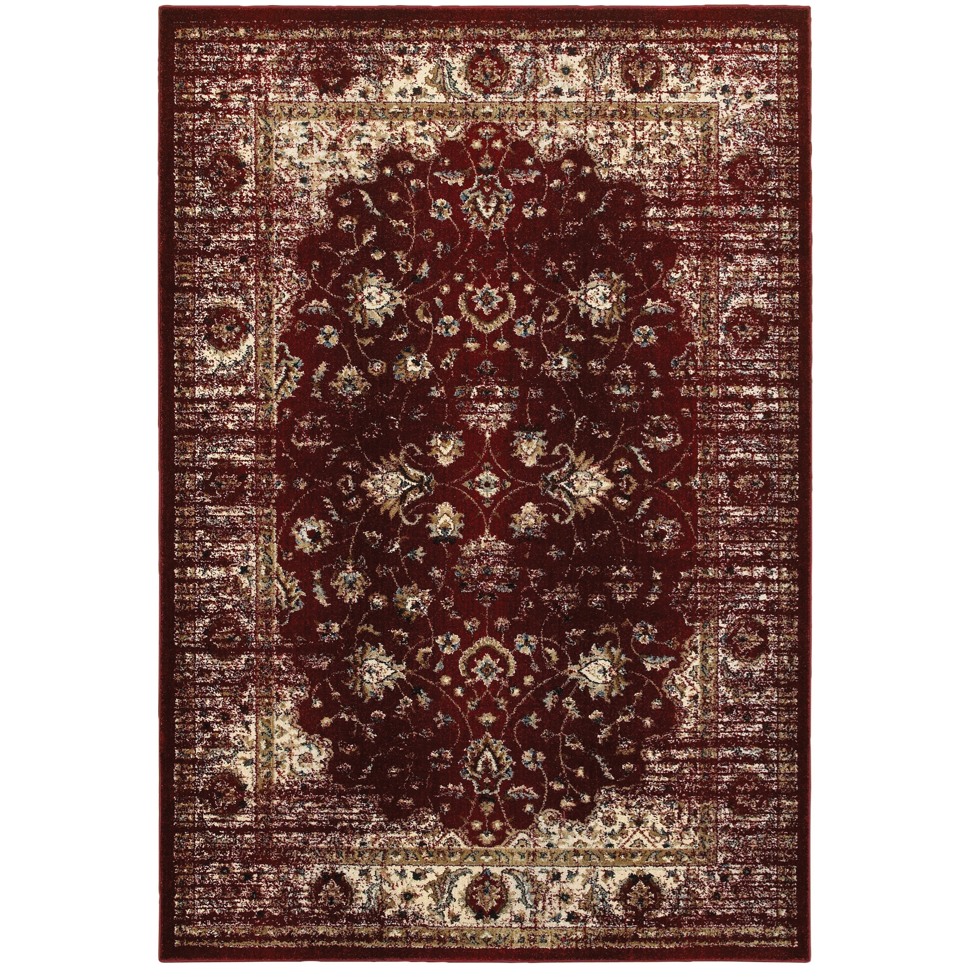 """9'10"""" X 12'10"""" Traditional Red/ Ivory Rectan"""