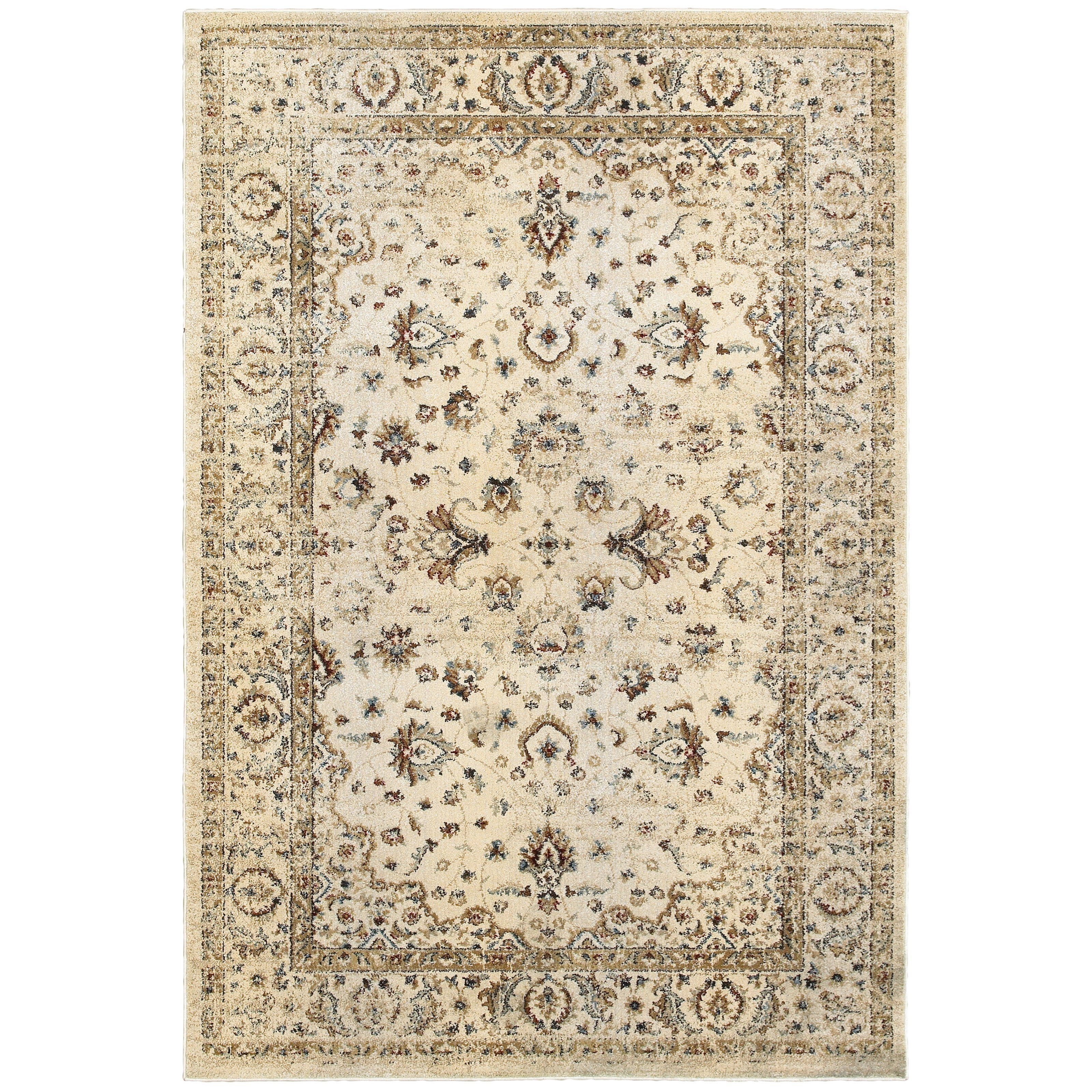 """3'10"""" X  5' 5"""" Traditional Ivory/ Gold Recta"""
