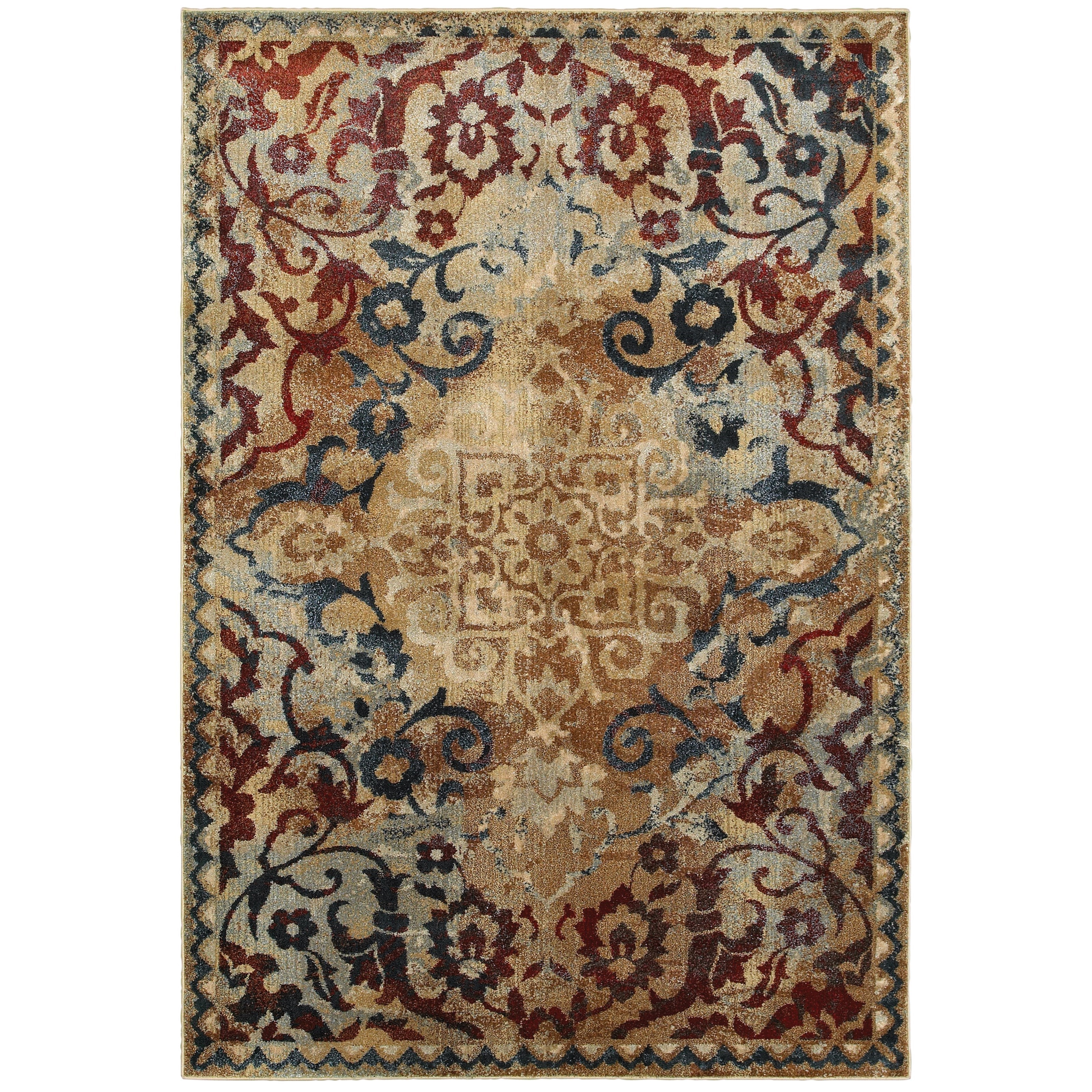 """2' 3"""" X  7' 6"""" Casual Gold/ Red Runner Rug"""