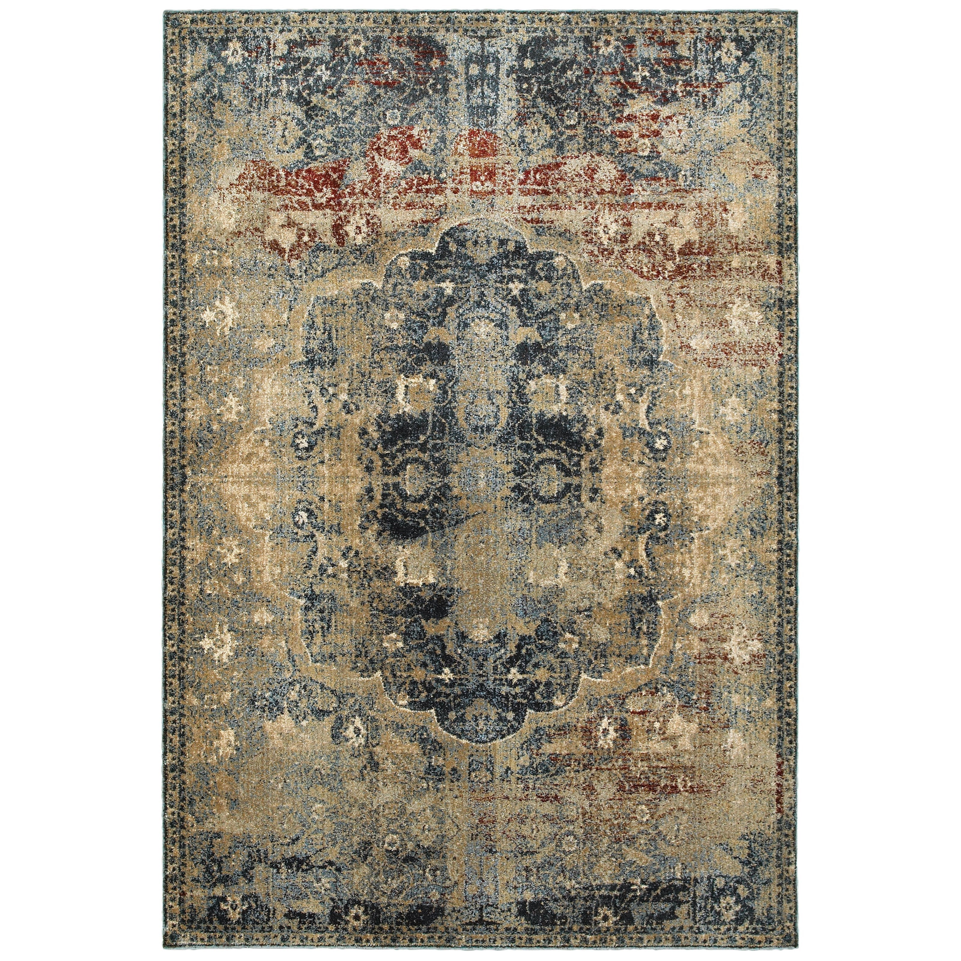 """3'10"""" X  5' 5"""" Traditional Gold/ Blue Rectan"""