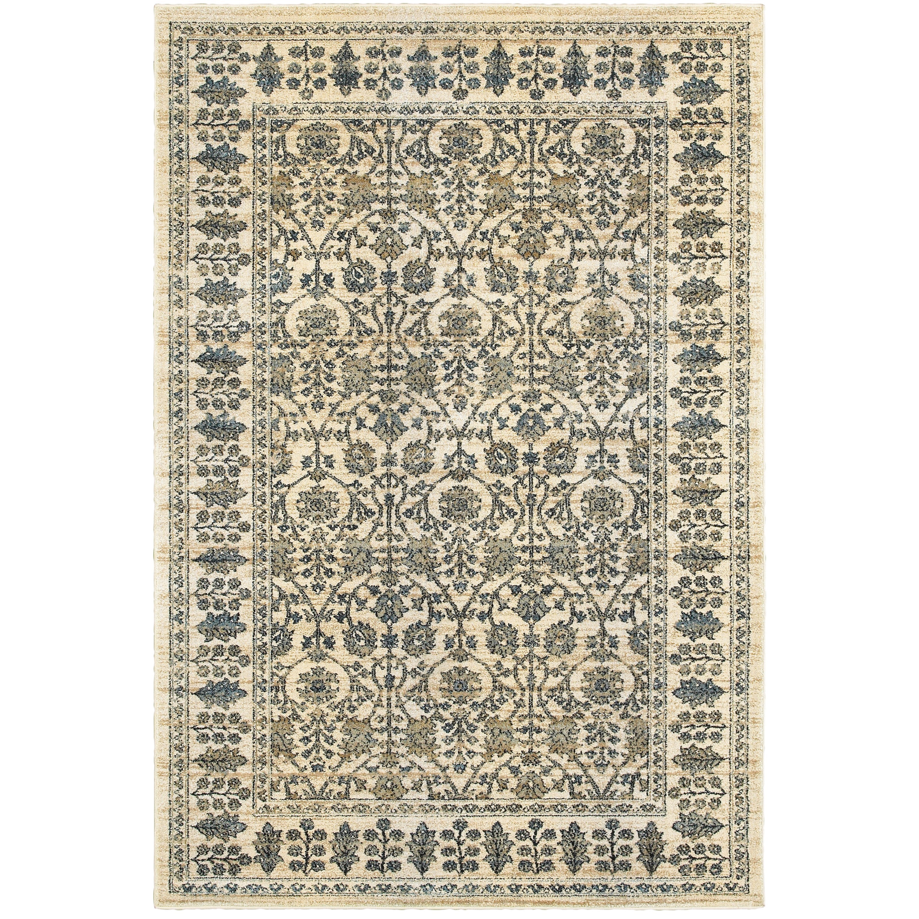 """3'10"""" X  5' 5"""" Traditional Ivory/ Blue Recta"""