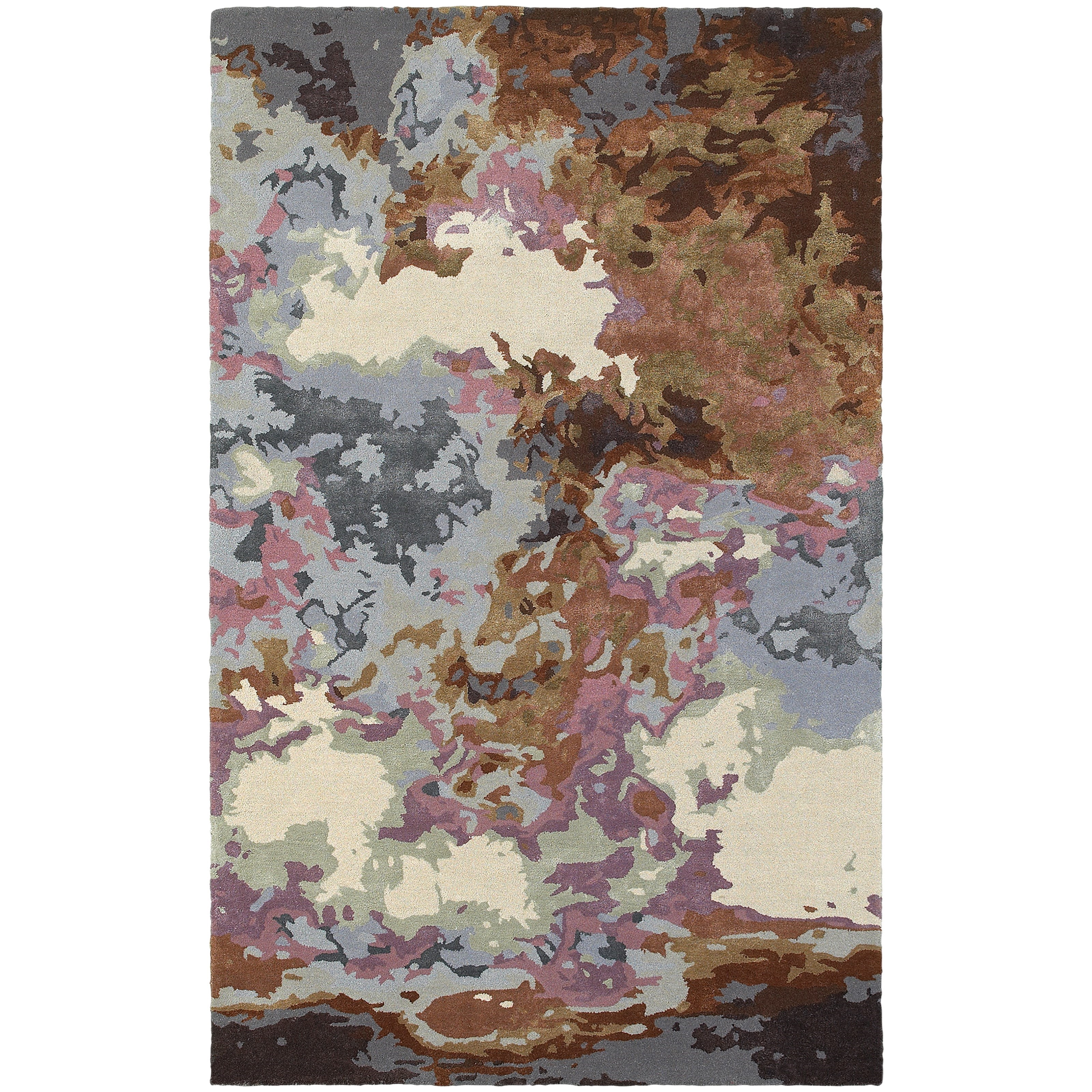 """8' 0"""" X 10' 0"""" Contemporary Blue/ Brown Rect"""