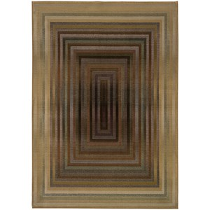 8' Contemporary Beige/ Green Square Rug