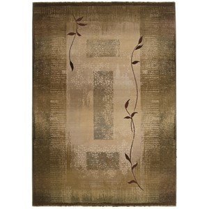 8' Casual Green/ Beige Square Rug
