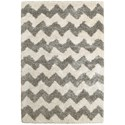 "Oriental Weavers Henderson 5' 3"" X  7' 6"" Shag Grey/ Ivory Rectangle Ru - Item Number: HEN625W53X76"