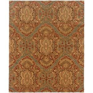 "Oriental Weavers Huntley 5' 3"" X  8' 3"" Casual Blue/ Rust Rectangle R"