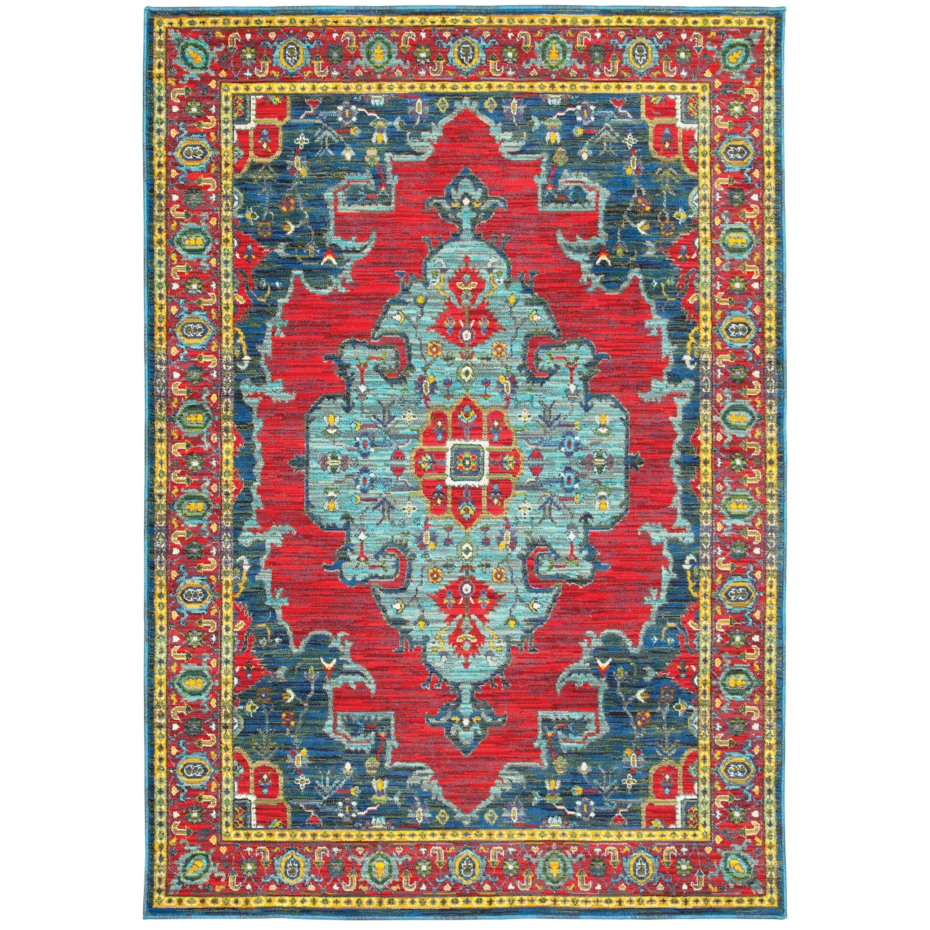 """7'10"""" X 10'10"""" Traditional Blue/ Red Rectang"""