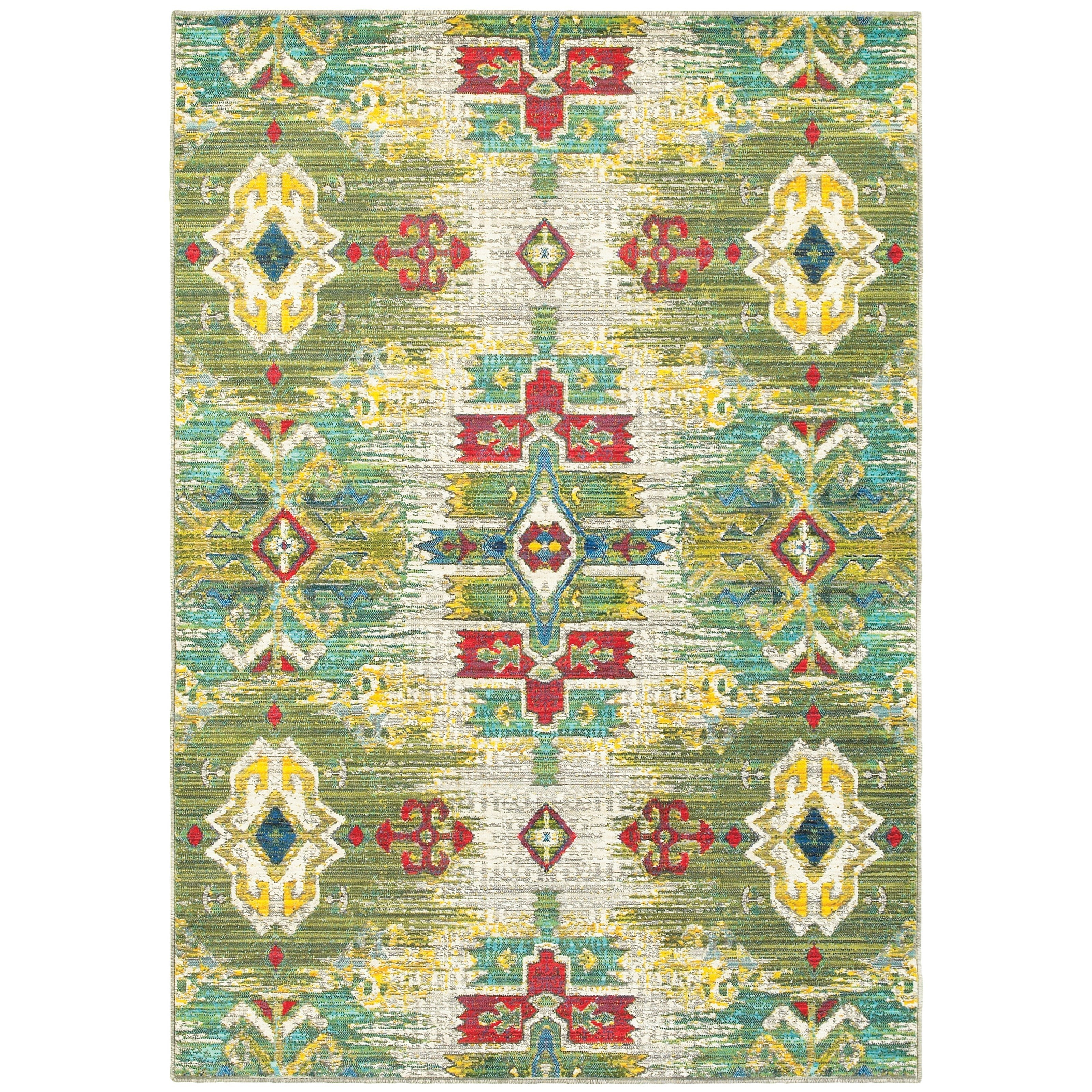 """1'10"""" X  3' 0"""" Casual Stone/ Green Rectangle"""