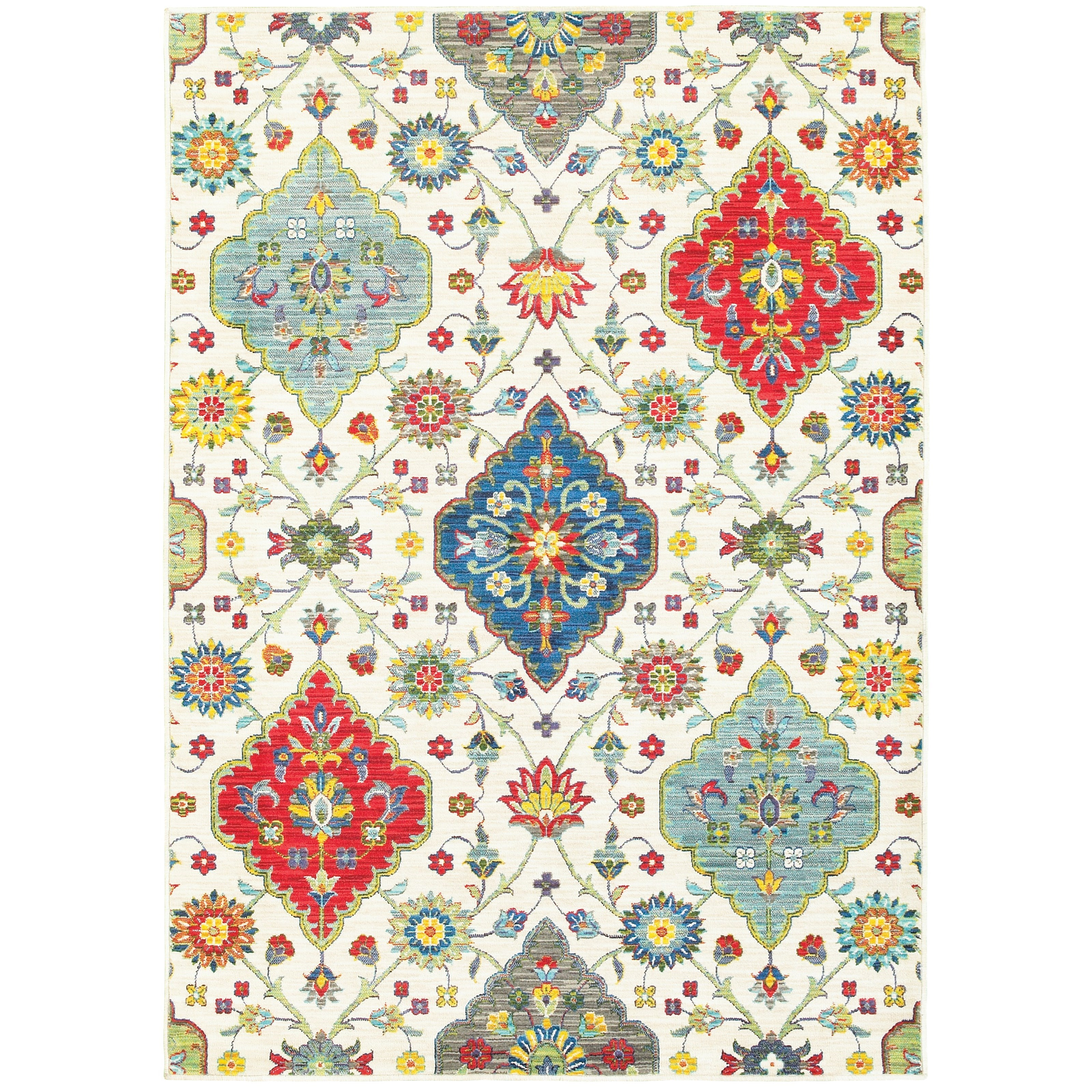 """9'10"""" X 12'10"""" Casual Ivory/ Multi Rectangle"""