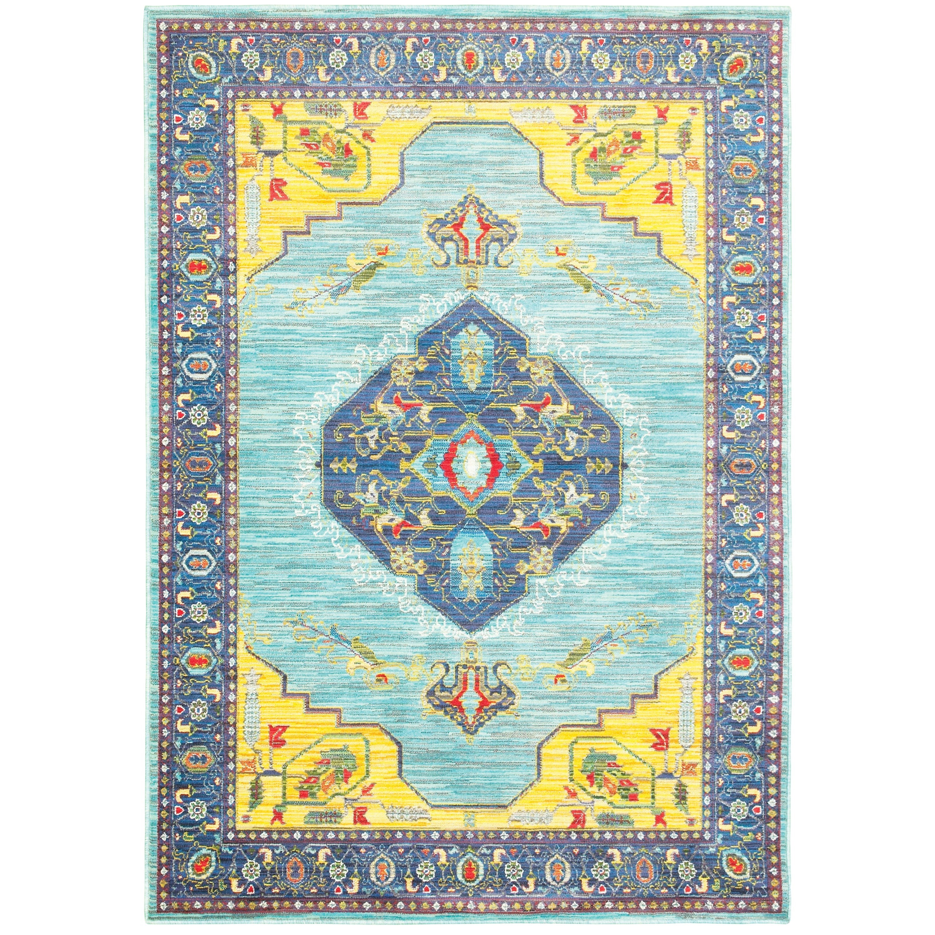 """9'10"""" X 12'10"""" Traditional Blue/ Yellow Rect"""