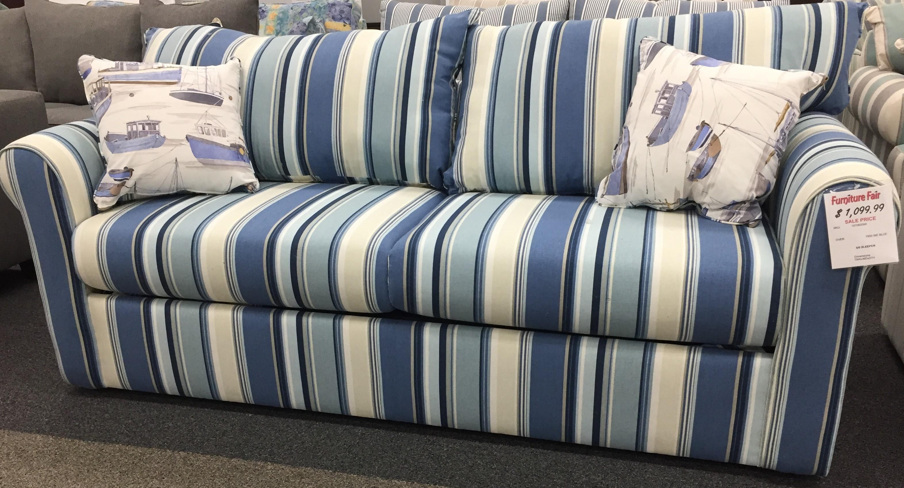 Coastal Sleeper Collection Queen Sleeper-  Westpod Blue by Overnight Sofa at Furniture Fair - North Carolina