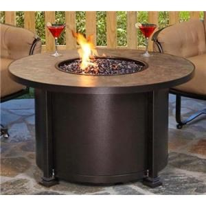 Chat Height Fire Pit with Pebbles and Glass