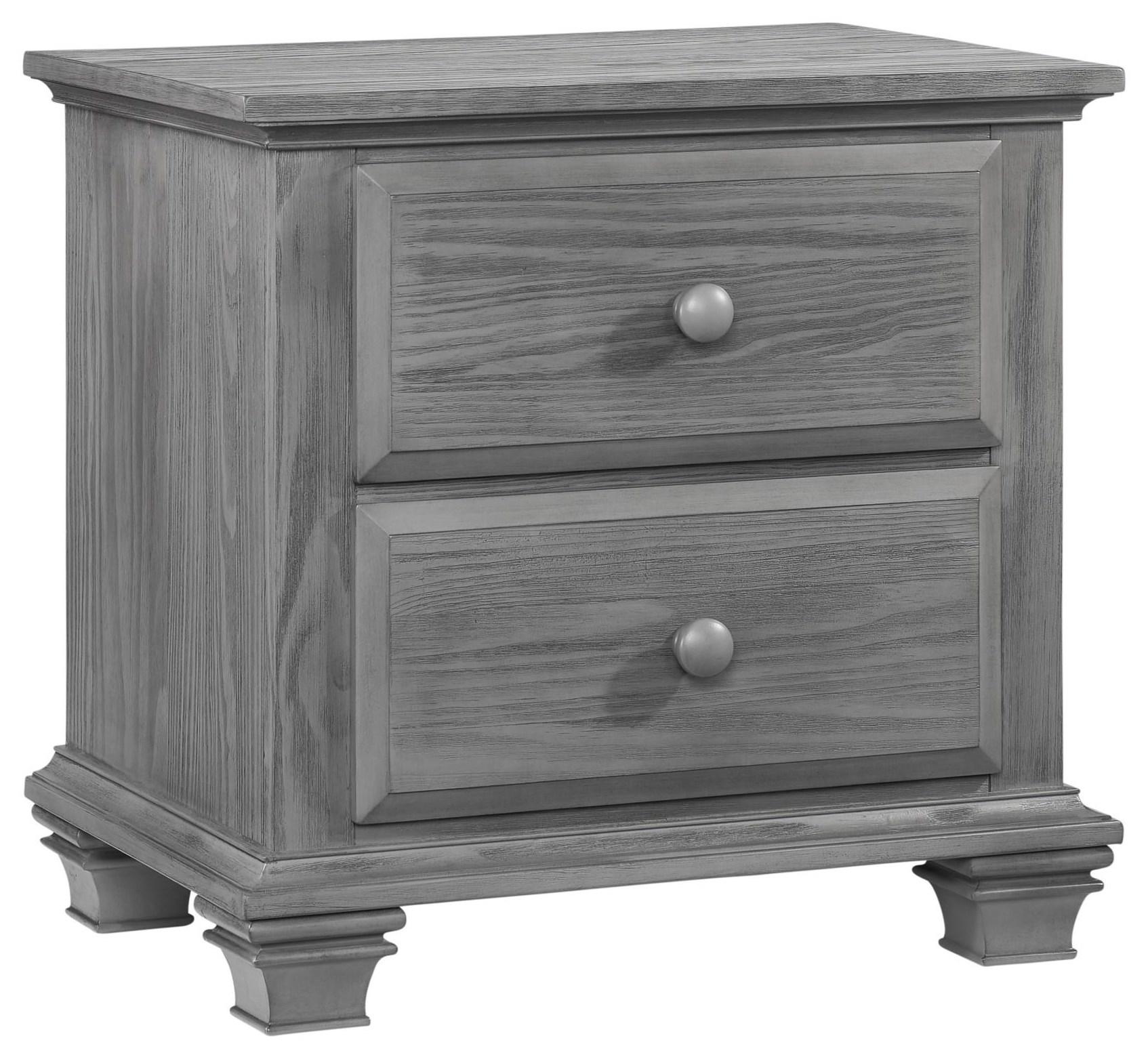 Gray 2 Drawer Nightstand