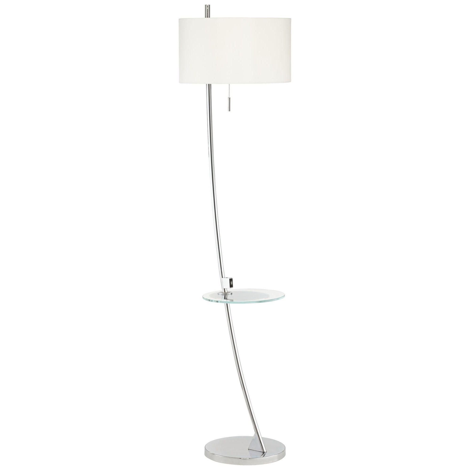 Trezzio With Usb & Glass Tray Floor Lamp