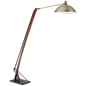 Pacific Coast Lighting Floor Lamps Kig Wood And Ant Brass Downbridge Floor Lamp
