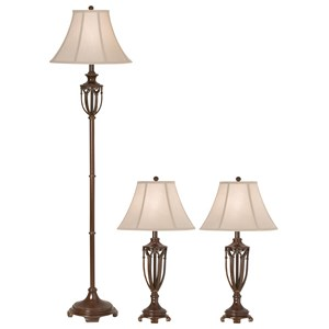 Pacific Coast Lighting Lamp Sets 3Pk The Estate Collection by Kathy Ireland