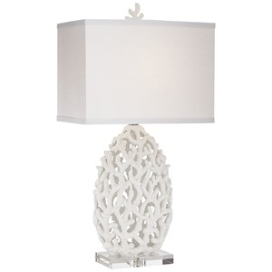 Pacific Coast Lighting Table Lamps KIE White Resin Coral Lamp