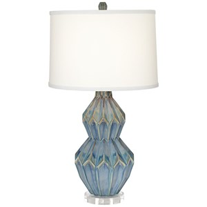 Pacific Coast Lighting Table Lamps Zigzag Ceramic Turquoise Lamp