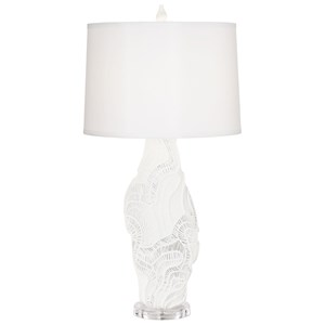 Pacific Coast Lighting Table Lamps Pure White Faux Coral Pattern Lamp
