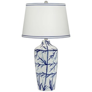 "Pacific Coast Lighting Table Lamps KIE 30.5"" Blue/ White Ceramic Lamp"