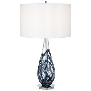 Pacific Coast Lighting Table Lamps Indigo Swirl Art Glass Table Lamp